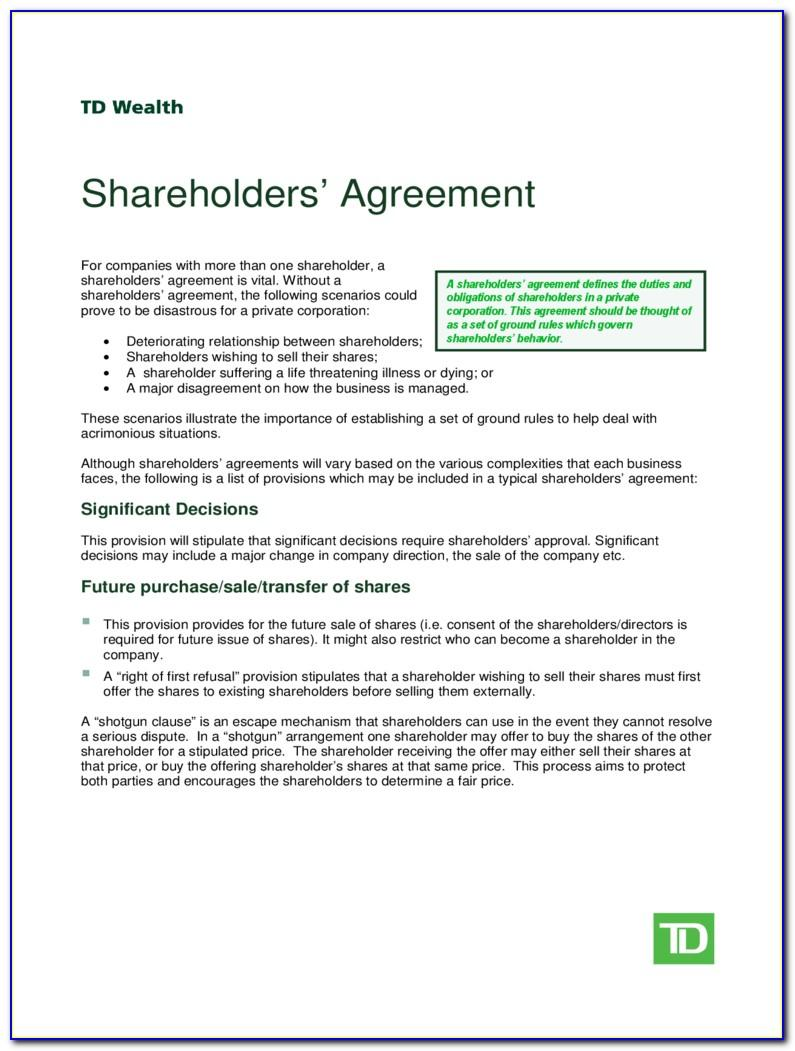 Shareholder Agreement Template Nz Free