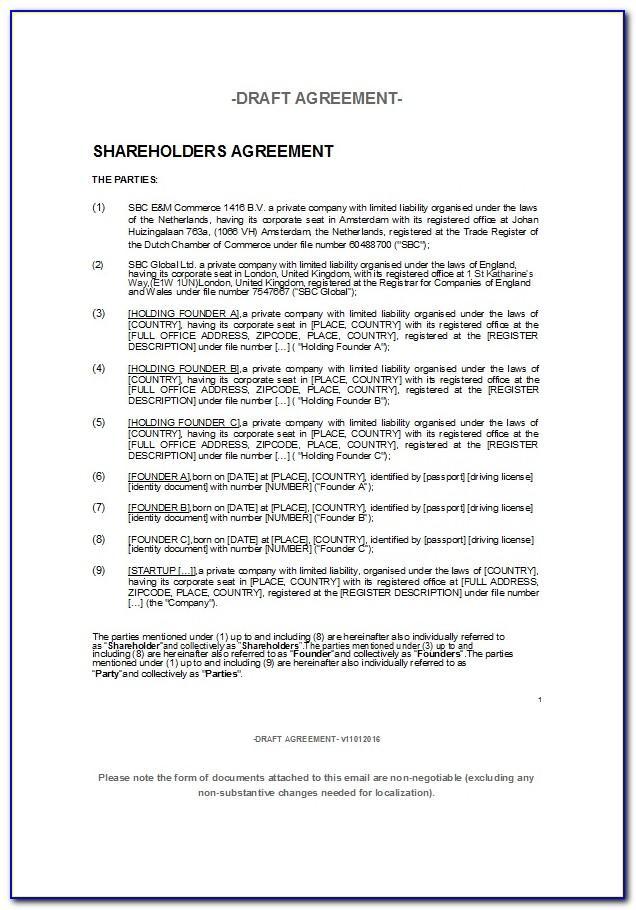 Shareholder Buy Sell Agreement Template