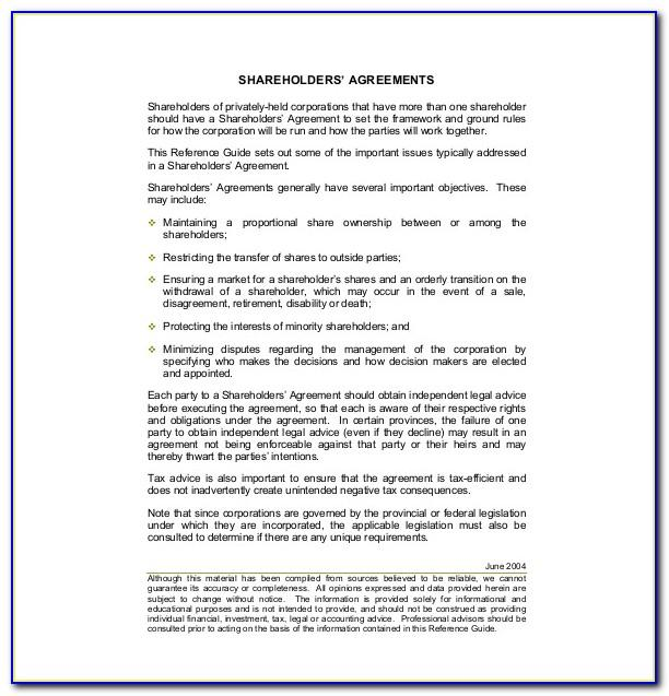 Shareholders Agreement Form Free