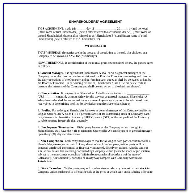Shareholders Agreement Sample Free