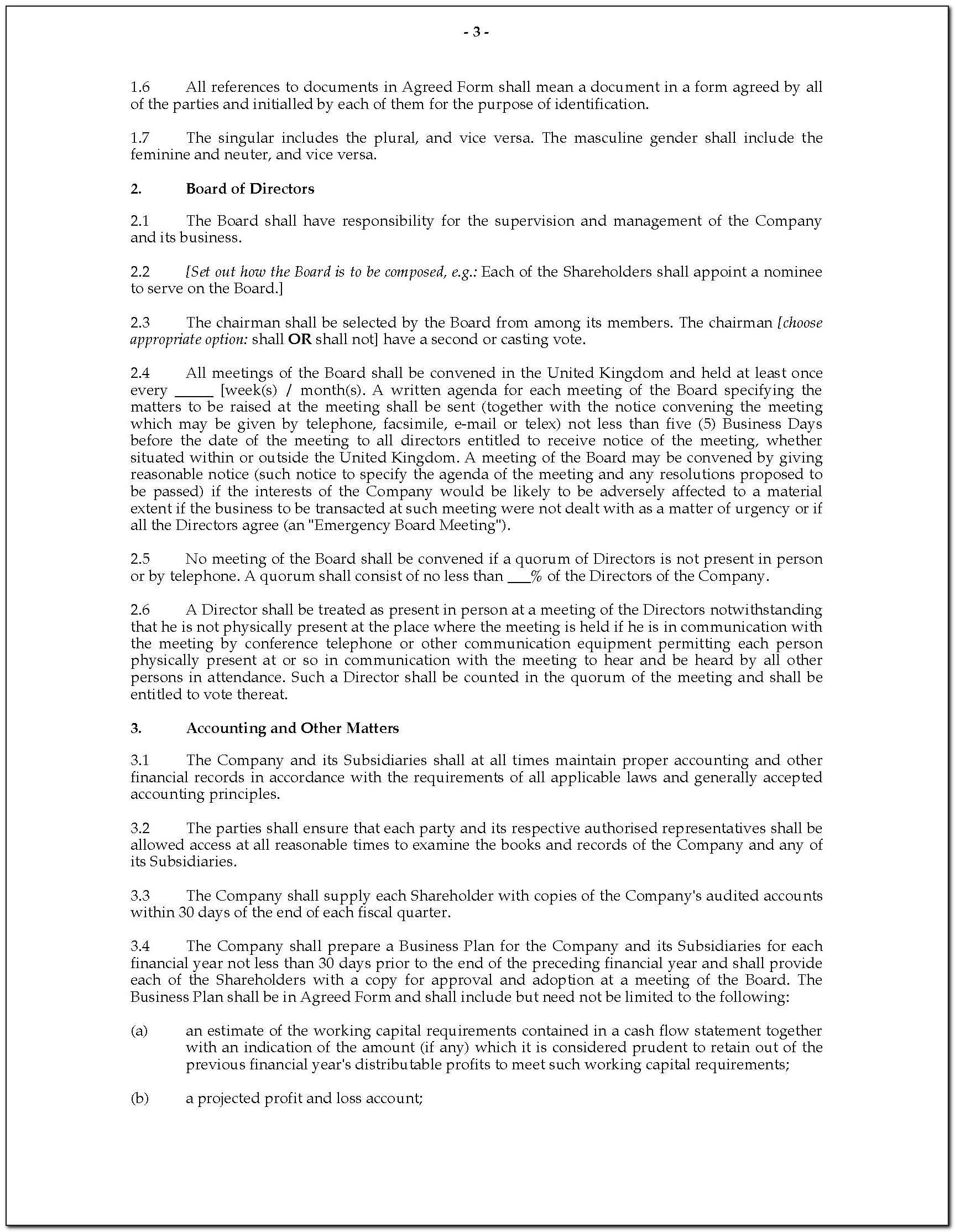Shareholders Agreement Template For Small Business Doc