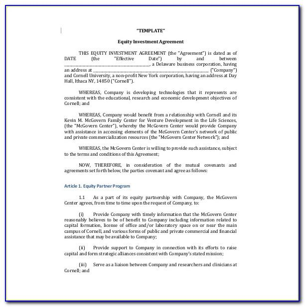 Shareholders Agreement Template For Small Business
