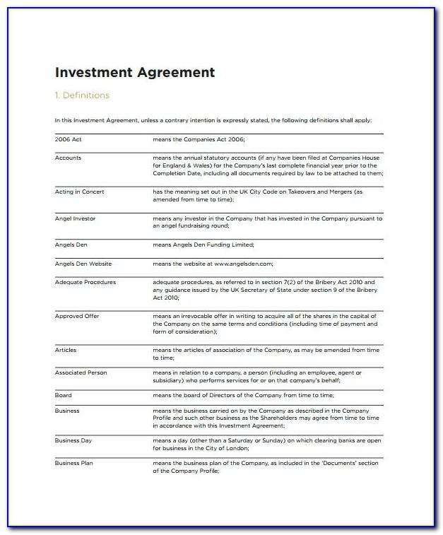 Shareholders Agreement Template Free Download Uk