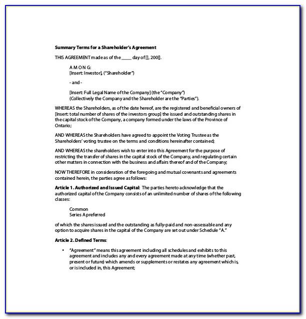 Shareholders Agreement Template Nz