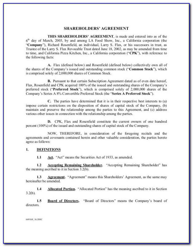 Shareholders Agreement Template Pdf