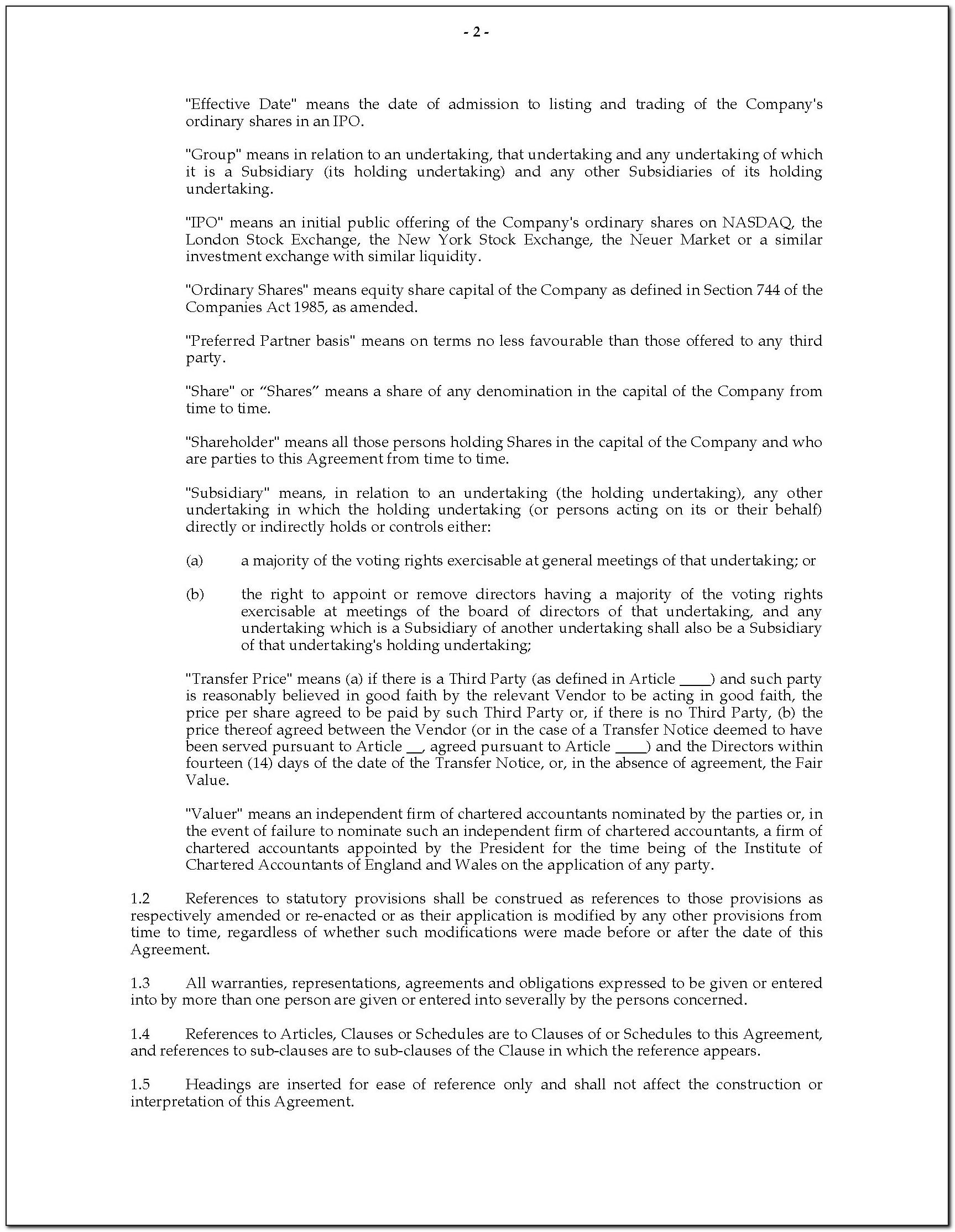 Shareholders Agreement Template South Africa Doc