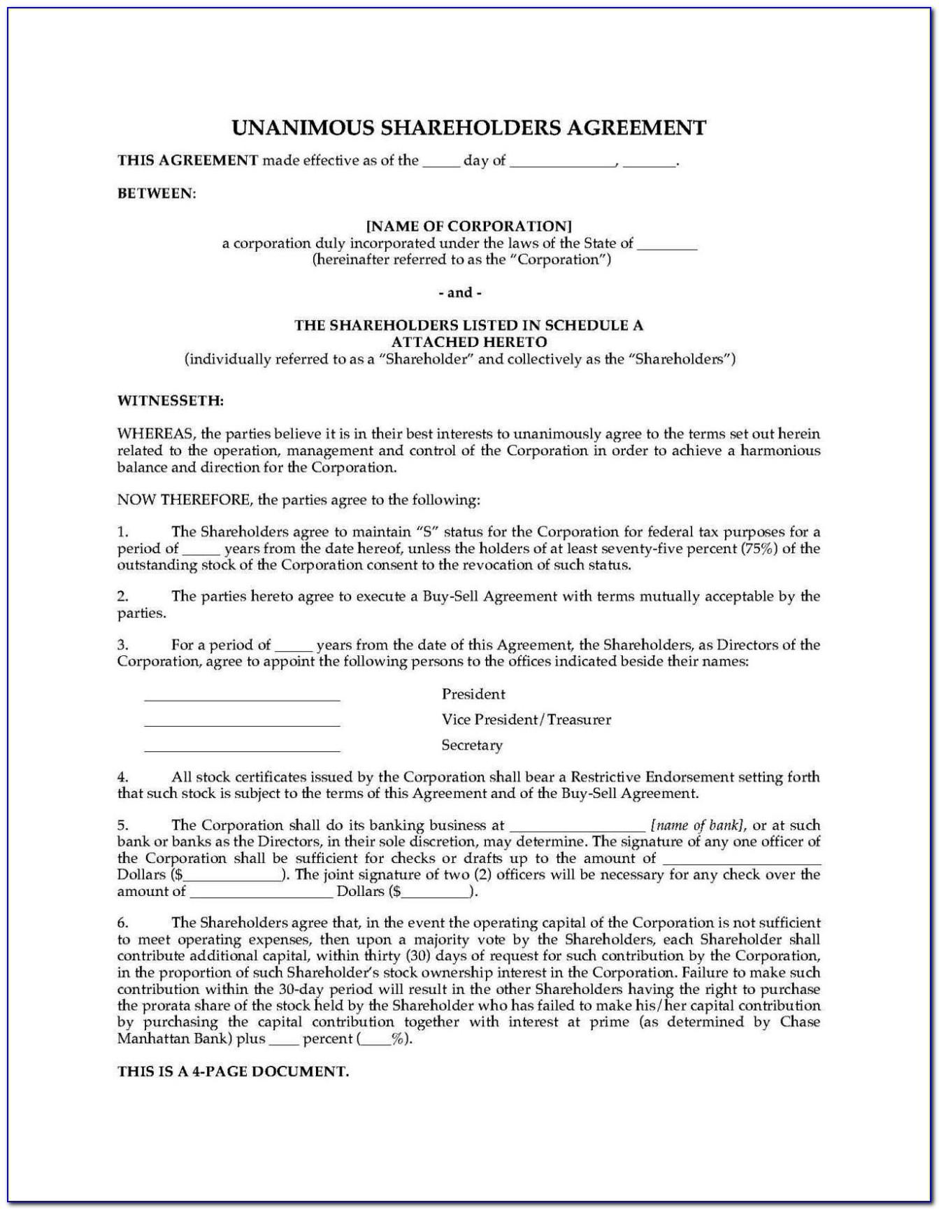Shareholders Agreement Template Uk Free