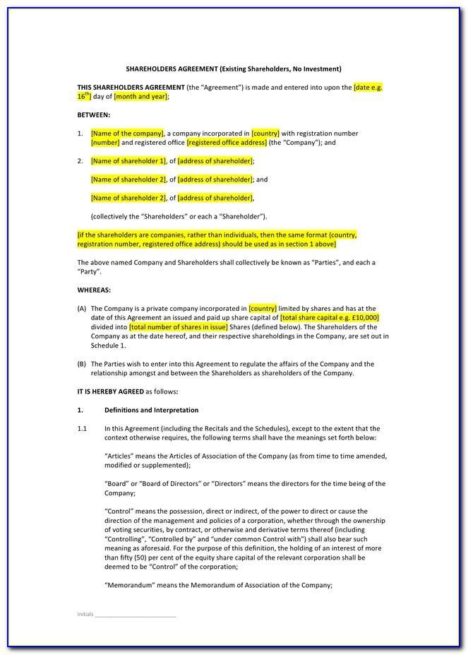 Shareholders Agreement Template Uk Word
