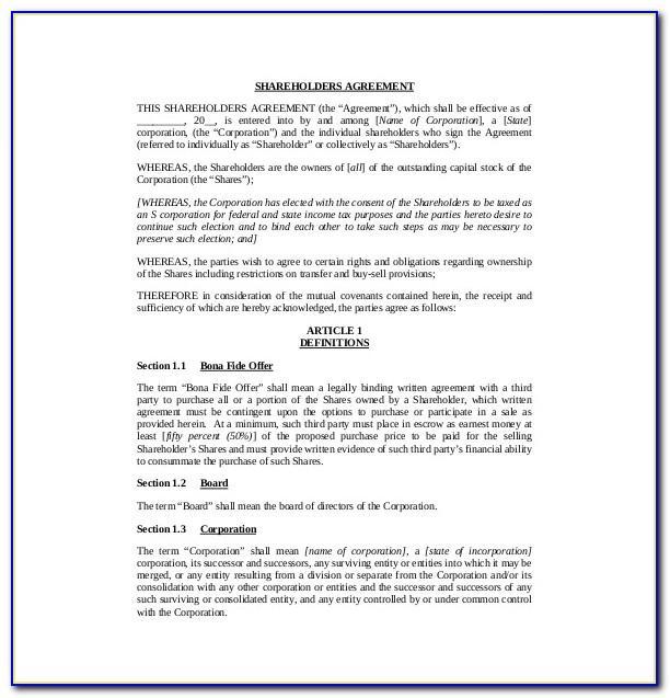 Shareholders Agreement Template Word