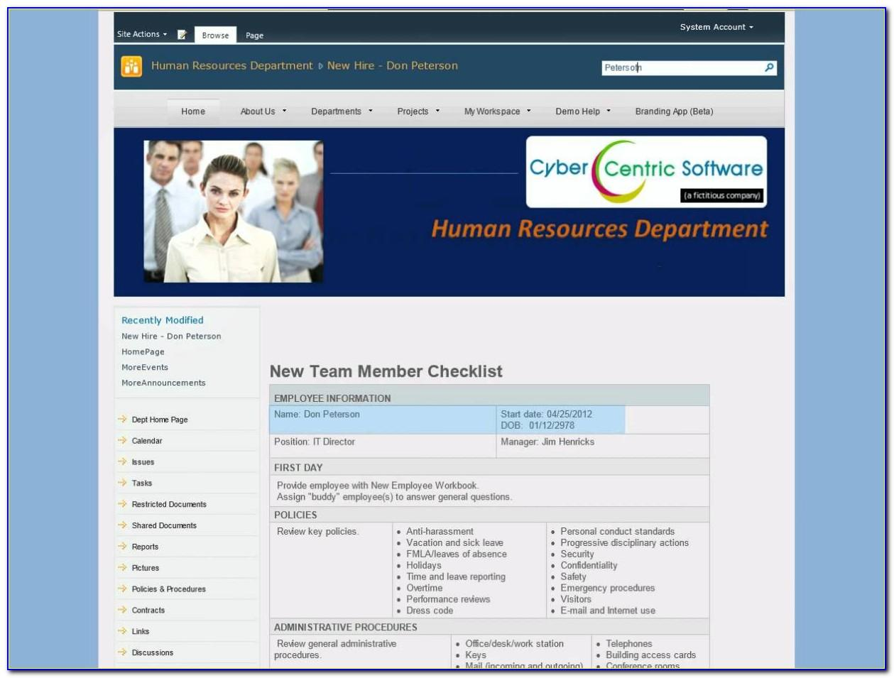 Sharepoint Hr Templates 2010