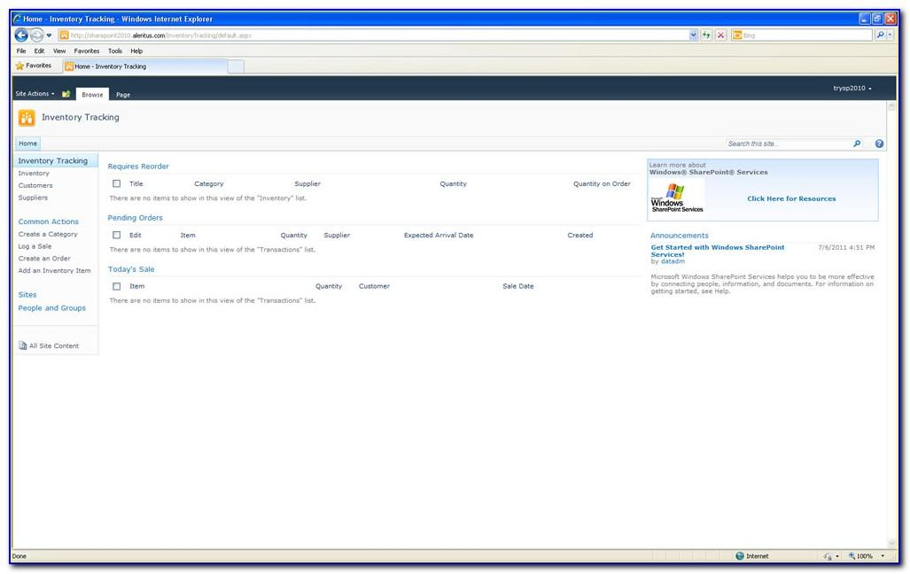 Sharepoint Software Inventory Template
