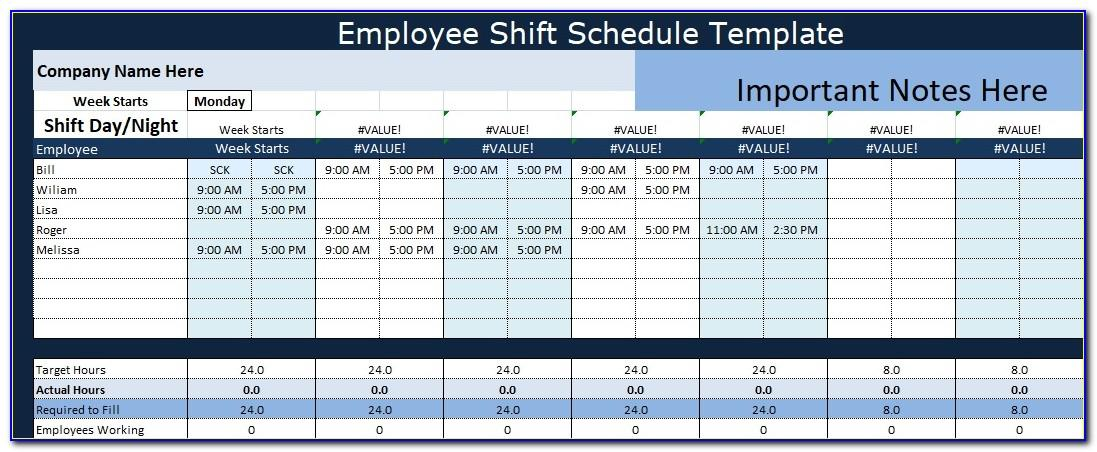 Shift Schedule Excel Sheet
