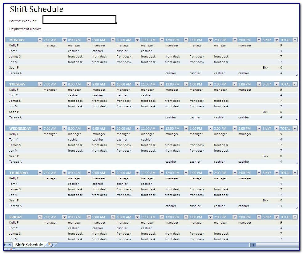 Shift Schedule Format Excel