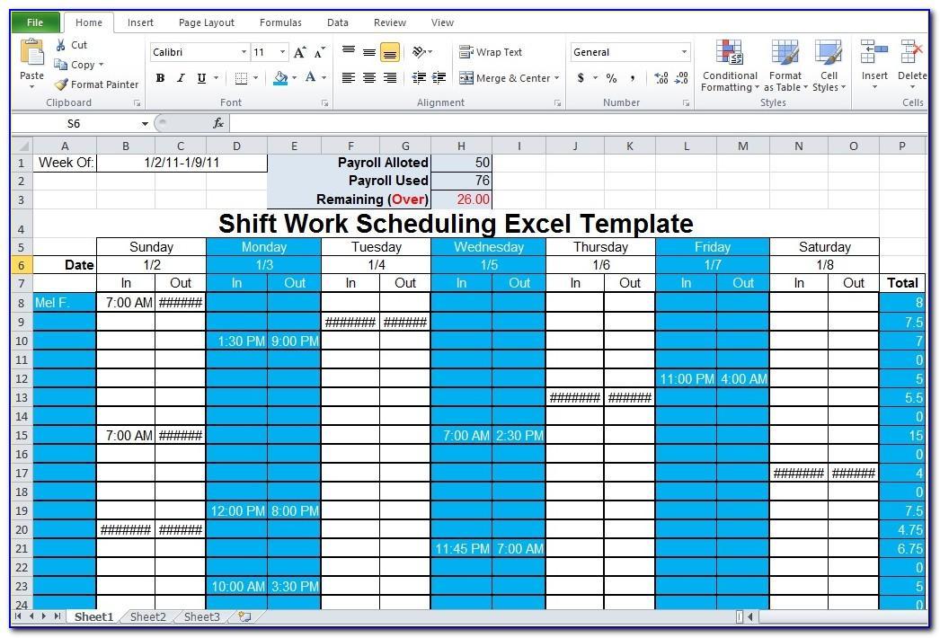 Shift Work Calendar Template Excel