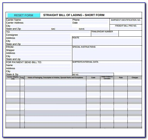 Short Form Bill Of Lading Template Free