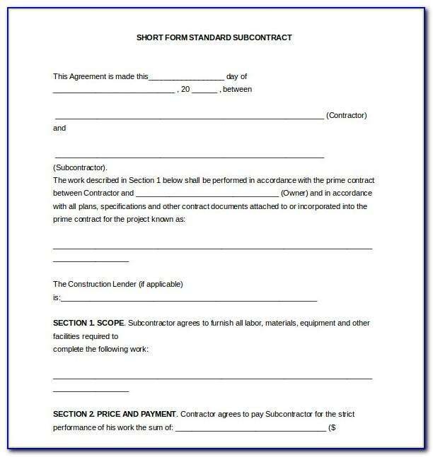 Short Form Standard Subcontract Agreement