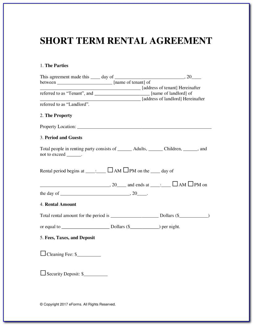 Short Residential Lease Agreement Form