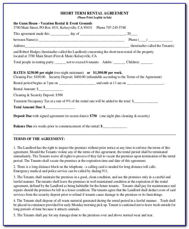 Short Term Lease Agreement Sample