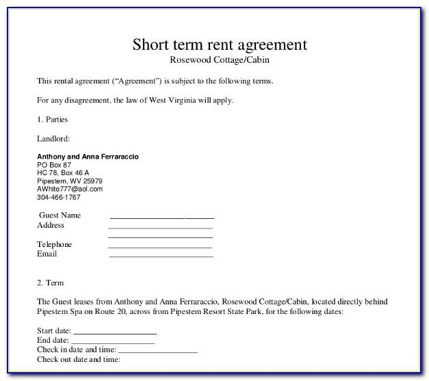 Short Term Rental Agreement Sample