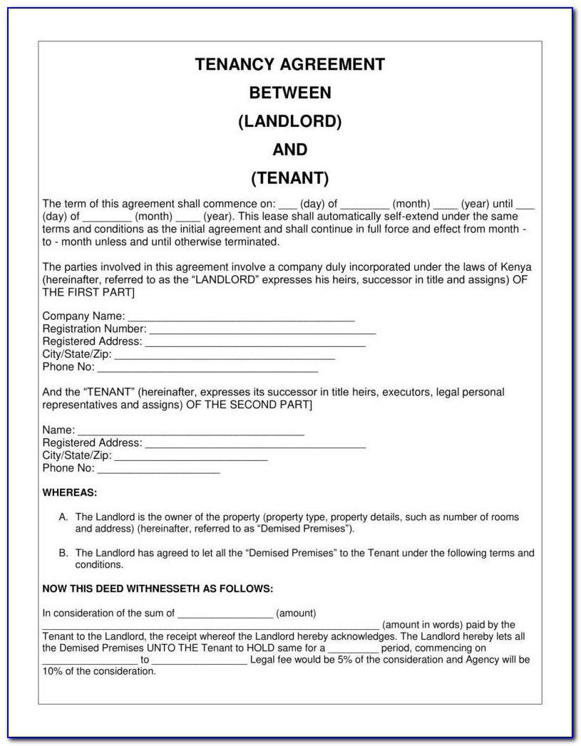 Short Term Rental Agreement Template Word