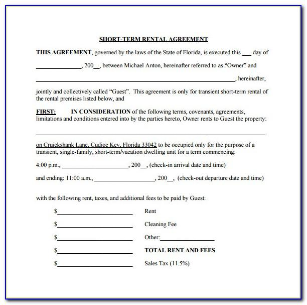 Short Term Tenancy Agreement Form Download