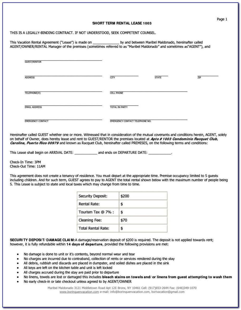 Short Term Tenancy Agreement Form Free Download