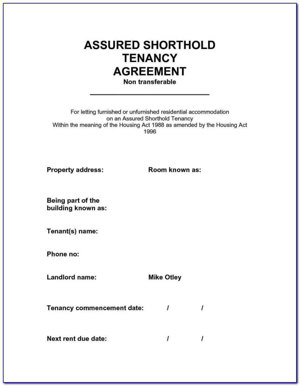 Shorthold Tenancy Agreement Template 2016