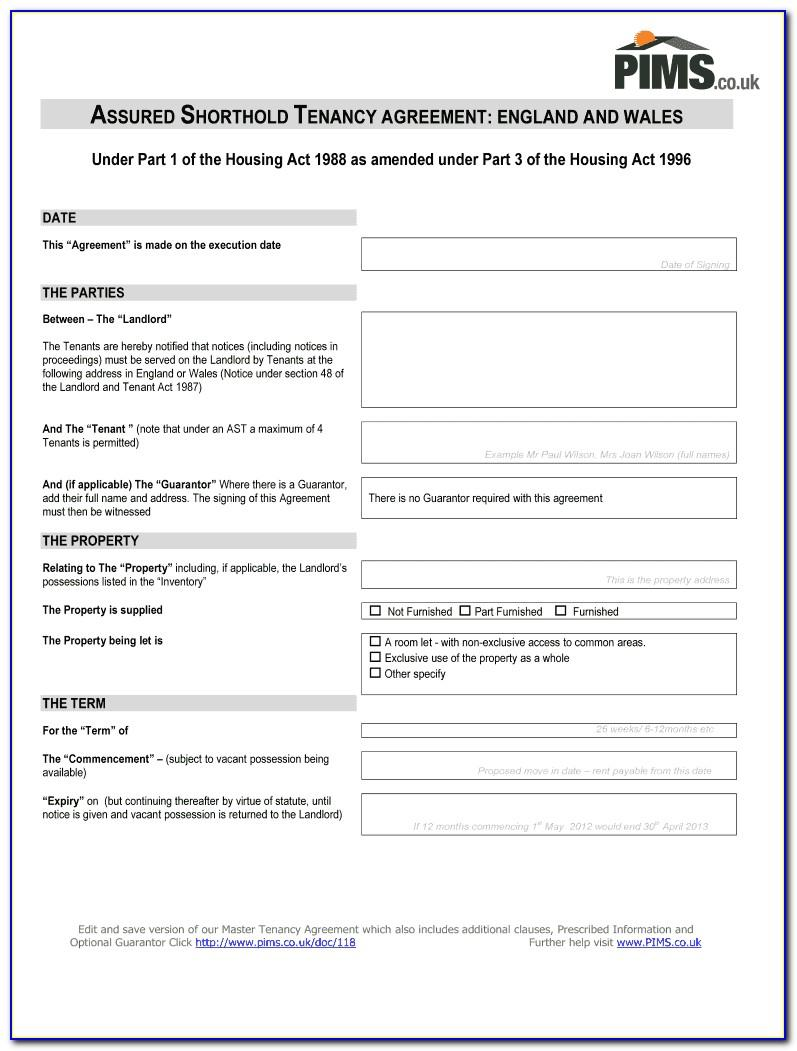 Shorthold Tenancy Agreement Template Free Word