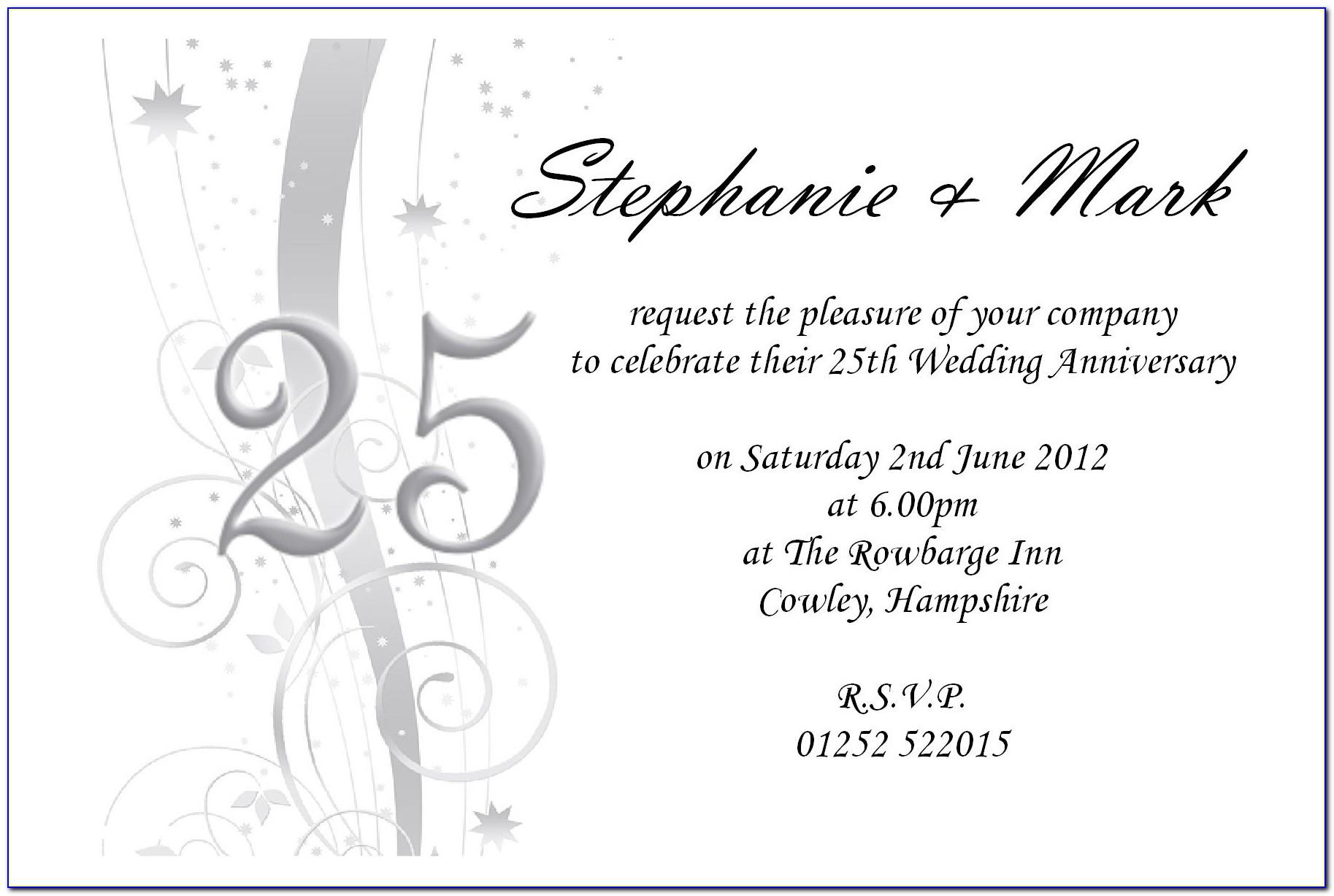 Silver Wedding Anniversary Invitation Templates