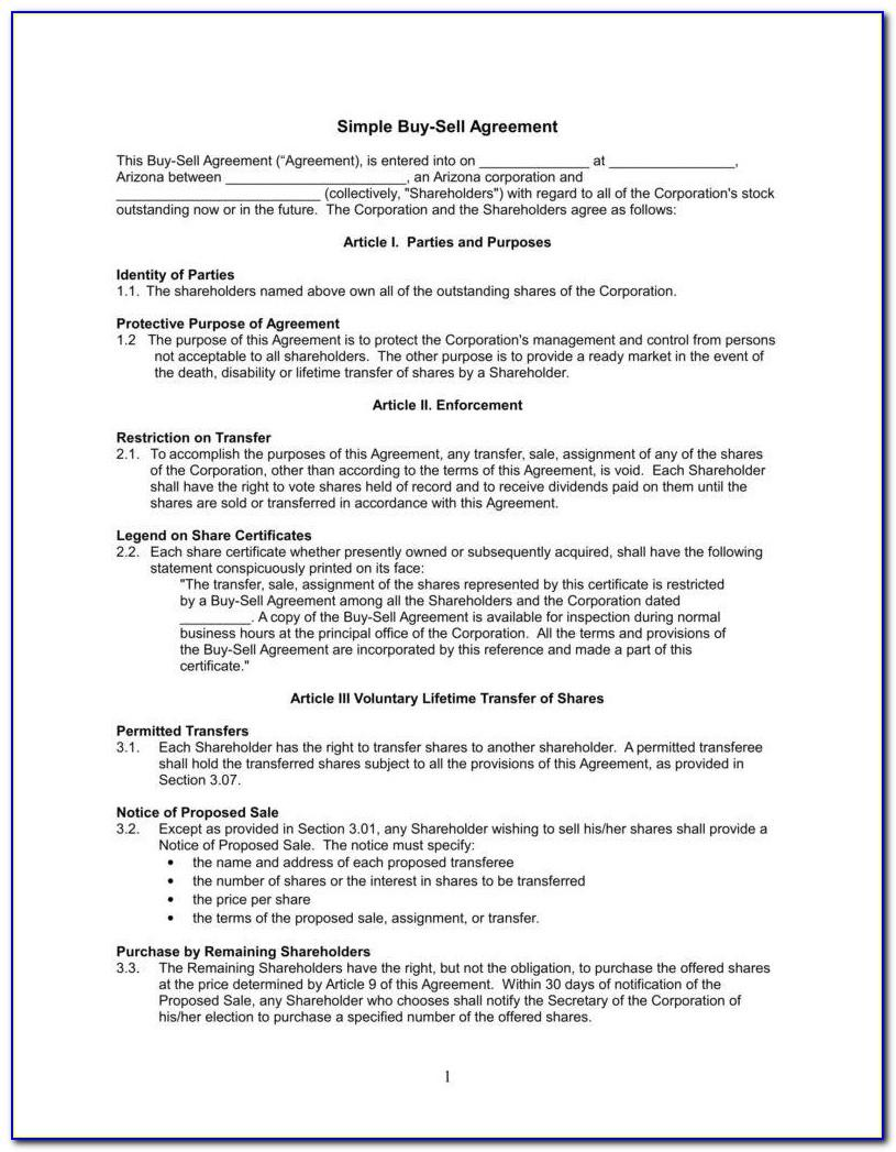 Simple Business Buy Sell Agreement Template