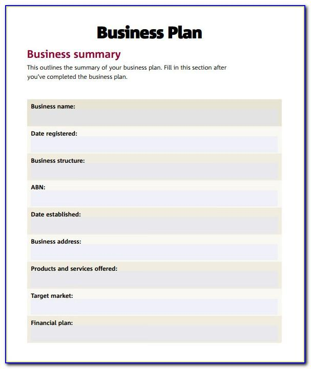 Simple Business Plan Template Australia