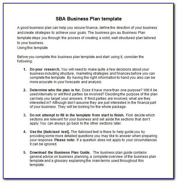 Simple Business Plan Template Sba