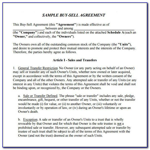 Simple Buy And Sell Agreement Template