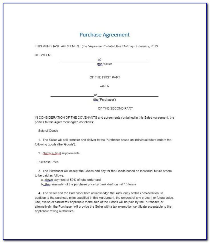 Simple Buy Sell Agreement Form