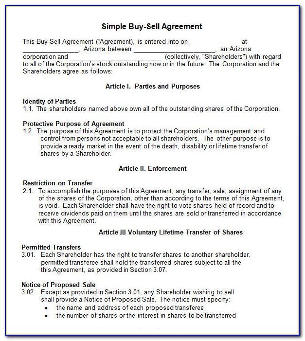 Simple Buy Sell Agreement Sample