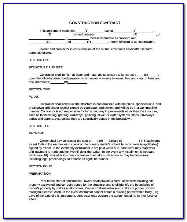 Simple Construction Contract Examples