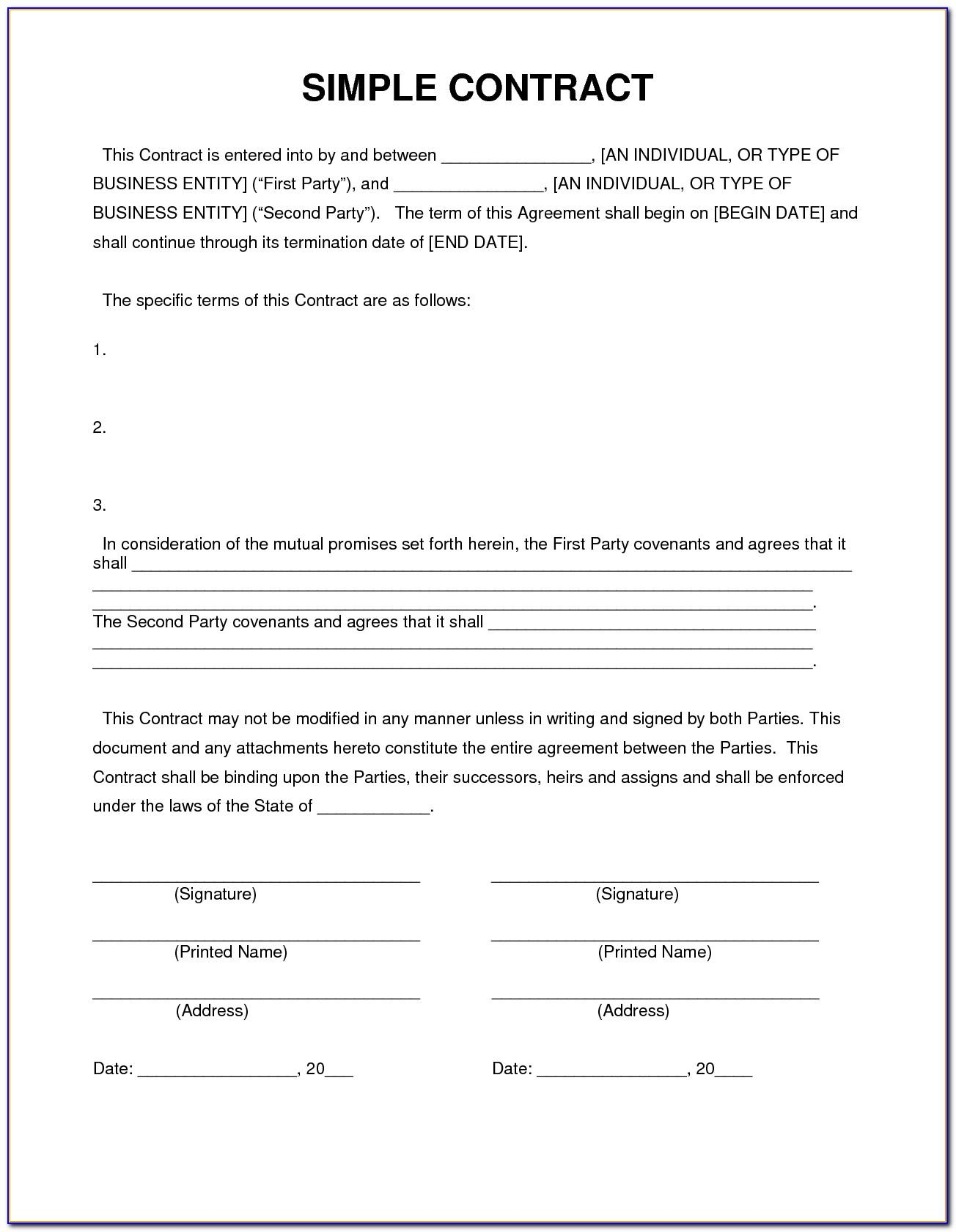 Simple Construction Contract Format