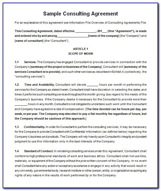 Simple Consulting Agreement Sample