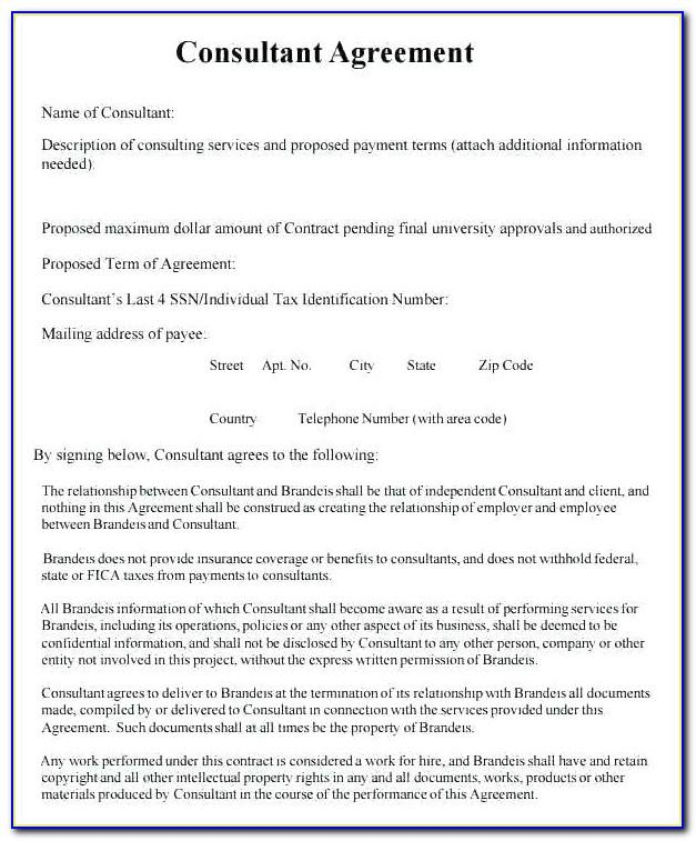Simple Consulting Contract Template Uk