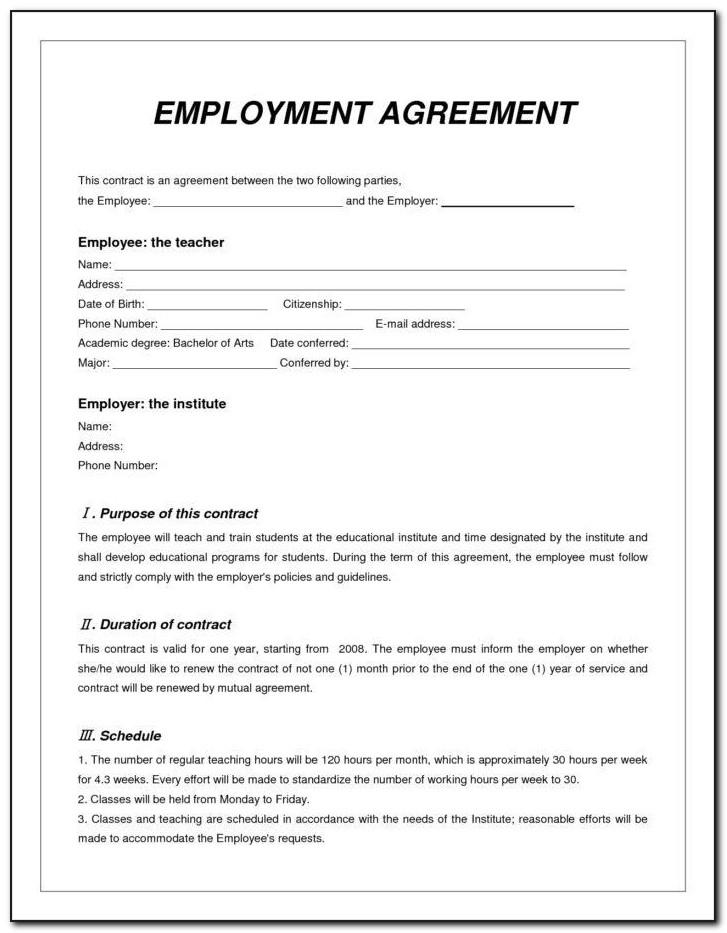 Simple Employment Contract Sample Pdf