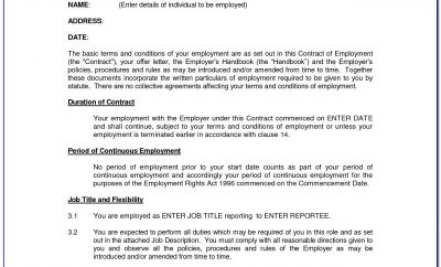 Simple Employment Contract Sample Word