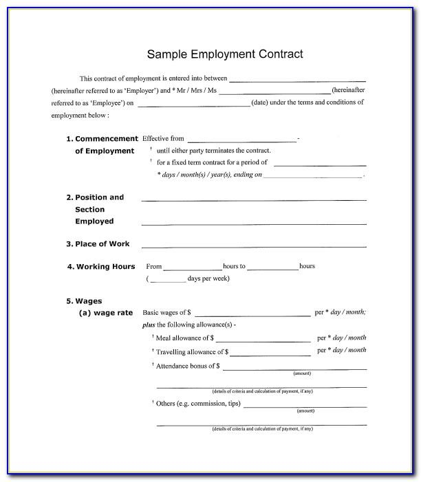 Simple Employment Contract Template Free