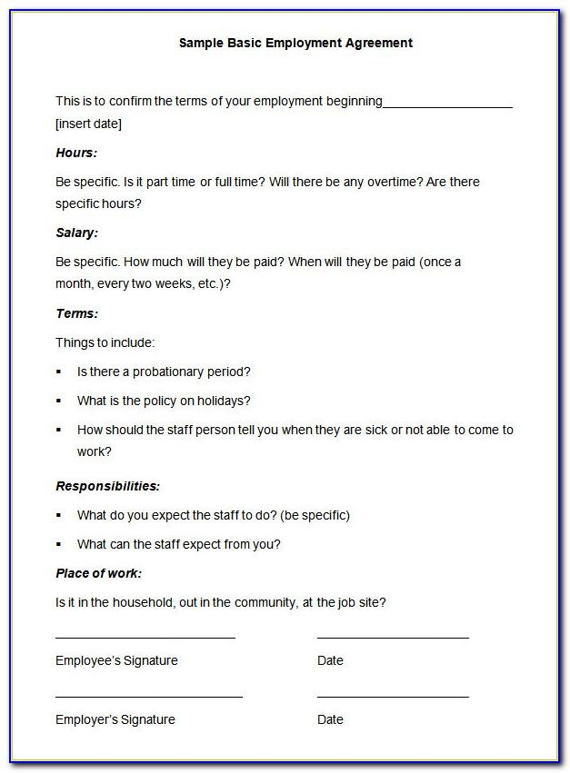 Simple Employment Contract Template South Africa