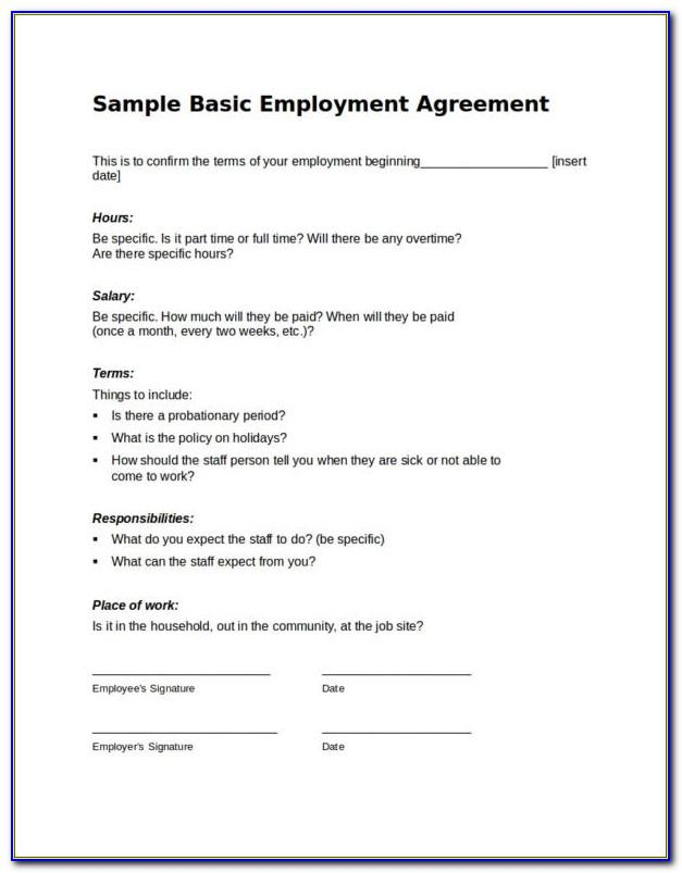 Simple Employment Contract Template Word