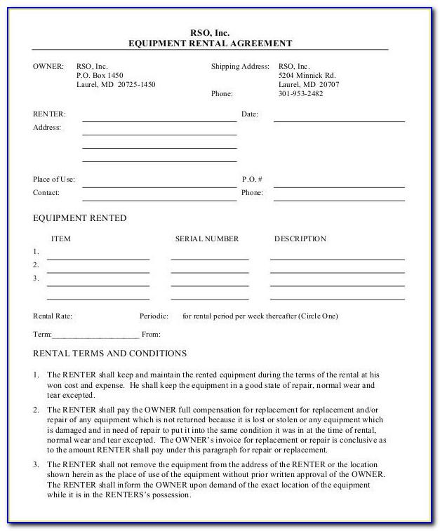 Simple Equipment Rental Agreement Template Free Nz
