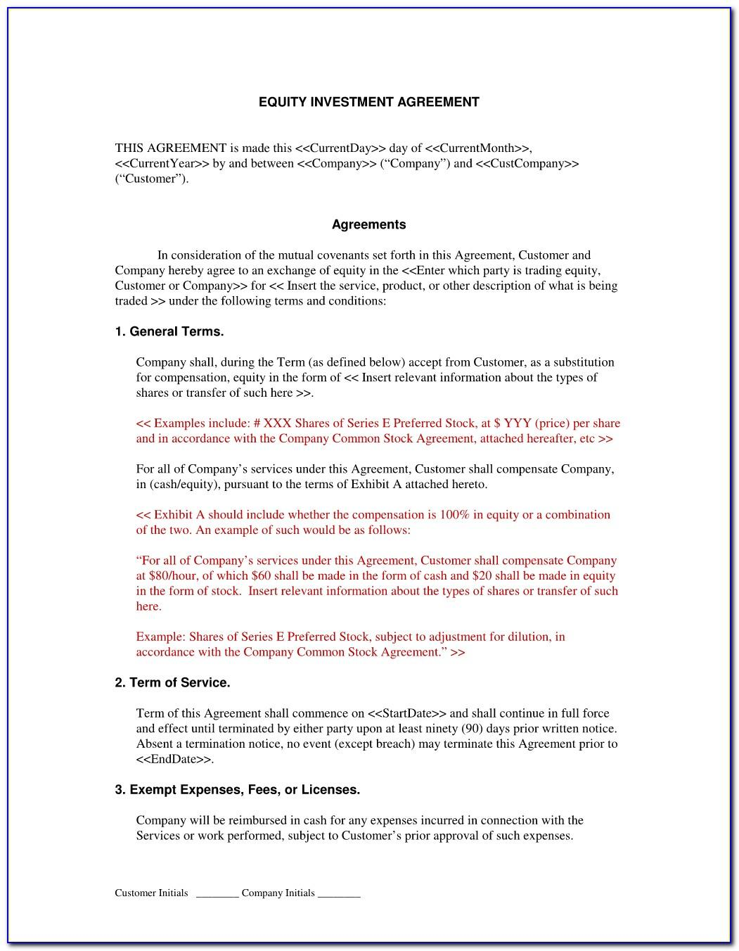 Simple Investment Agreement Contract Sample