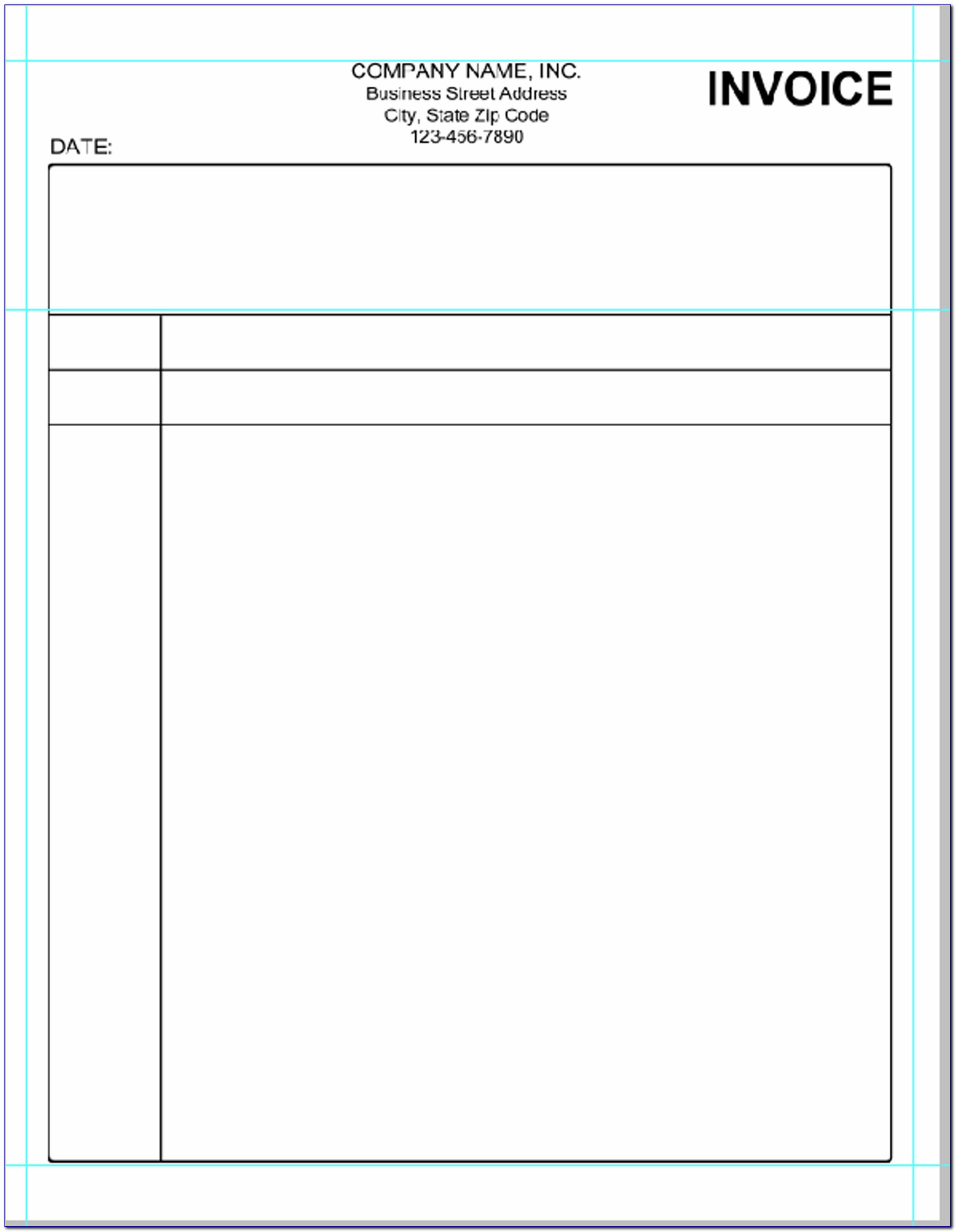 Simple Invoice Template Printable