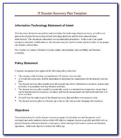 Simple It Disaster Recovery Plan Template For Small Business