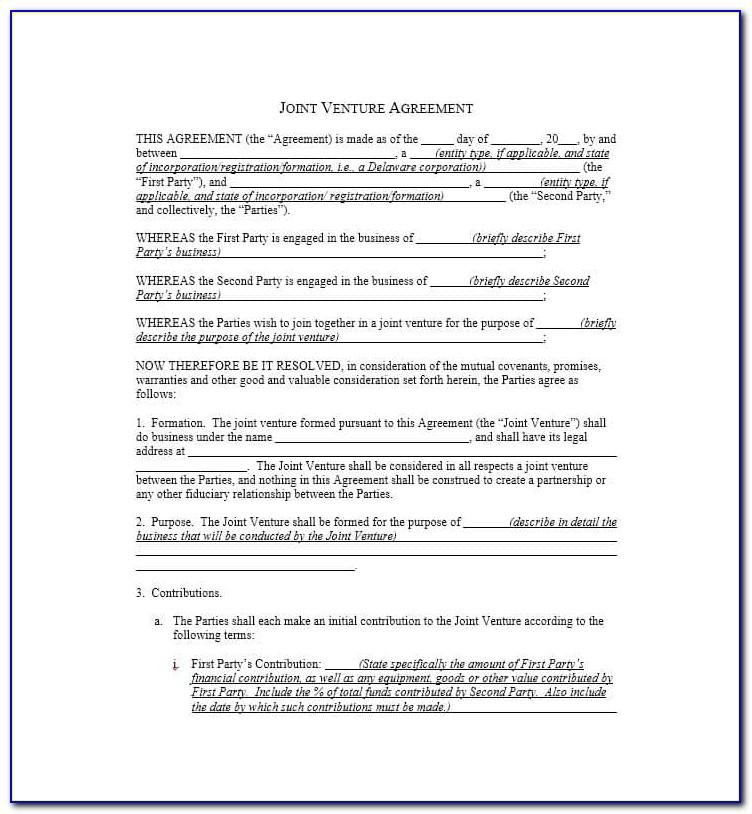 Simple Joint Venture Agreement Form