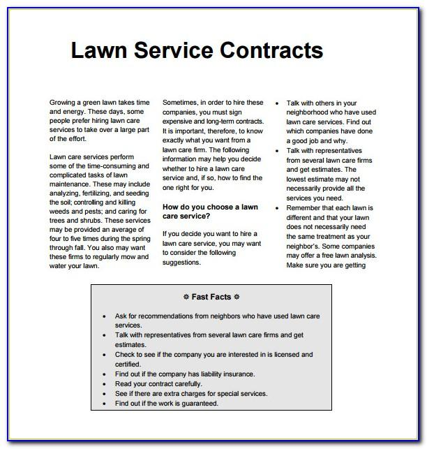 Simple Lawn Care Bid Template